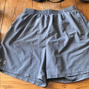 UA gray workout shorts